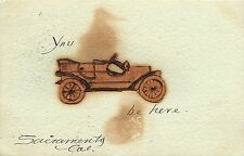 Posted 1903 Handmade Rebus Novelty Leather Applique Postcard You (Auto) be Here