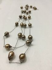 60 Inch 11-11.5 Mm Bronze Rice Freshwater Pearl With Metal Chain.