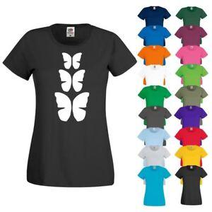 CRE8 THREE BUTTERFLIES T Shirt 8 - Womens Girls Novelty Top