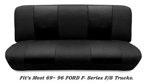 Mesh Black Full Size Bench Seat Cover Fits Most 69-96 Ford F- Series F/STrucks.