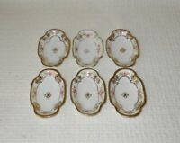 Nippon Hand Painted Pink Rose with Gold Nut Dishes or Butter Pats Green Mark (6)