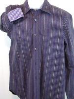 Bugatchi Uomo Mens Large Long Sleeve Button Front Flip Cuffs Blue Stripe Shirt