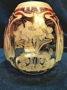Antique cranberry to clear Etched lily Victorian Gas Oil Shade 4 inch fitter