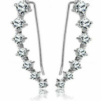 Cubic Zirconia CZ Sterling Silver Climber Silver Crystal Crawler Earrings