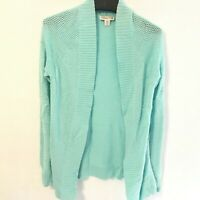 COLDWATER CREEK Size XS Aqua Blue Knit Open Front Cardigan Sweater