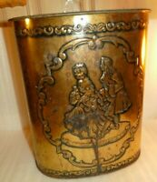 """Vintage Weibro Metal 13 x11 """" Trash Can Embossed Gold Tone Chicago USA RUSTY"""