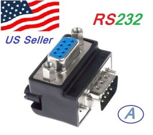 Serial RS232 DB9 Male to Female 90° Angle Connector Adapter Gender Changer