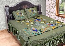 4 PC Silk Soft Peacock Printed Bed Cover With Pillow Quilt Bedding Set