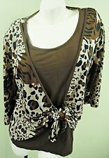 THREE-QUARTER SLEEVE LEOPARD PRINT TWO IN ONE TIE FRONT TOP, SIZE UK 14, LT262