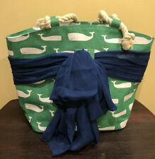 Mud Pie Sarong-Along Tote Bag in Navy Stripe with Pink Pineapples
