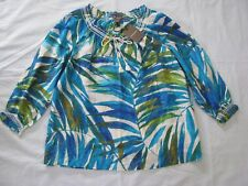 Tommy Bahama L Peasant Blouse Blue Green White Tropical Leaf Cotton Silk Top NWT