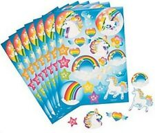 Pack of 12 - Unicorn Party Sticker Sheets - Rainbow Party Bag Fillers