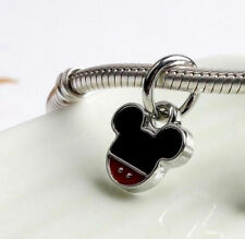 MICKEY MOUSE DANGLE CHARM BEAD FOR BRACELET NECKLACE. SILVER PLATED