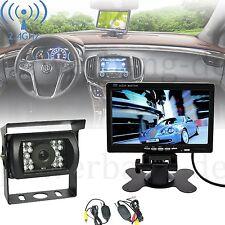 "Funk Kabellos Rückfahrsystem 7"" Monitor CCD Auto Farb- Rückfahrkamera 18LED DE"