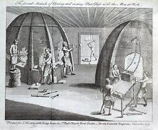PIASTRA VETRO SOFFIATO, CASTING, VETRO FABBRICAZIONE ORIGINALE Antica Stampa 1747