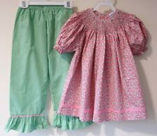 NWT Remember Nguyen Smocked Floral Top & Gingham Capri Outfit Size 5