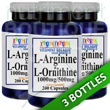 L-Arginine and L-Ornithine 1000mg/500mg 3X200 Caps by Vitamins Because