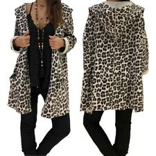UK Women Leopard Print Cardigan Coat Hooded Ladies Casual Hoodies Jacket Autumn