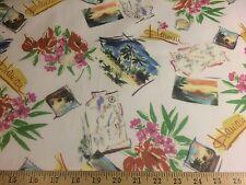 "Hawaiian Print 100% Polyester Chiffon Fabric 58"" Wide Sold By The Yard"