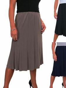 Ladies Below Knee Midi Panel Swing Skirt Soft Stretch Fully Lined 8-22