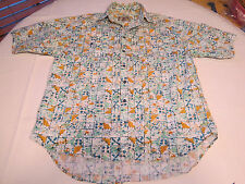 The Territory Ahead L short sleeve button up Shirt green gold white EUC @