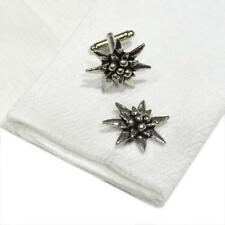 Edelweiss High Quality Cufflinks Silver Pewter Handmade in England