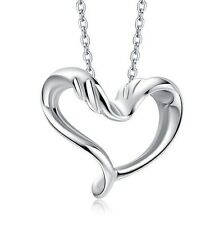 """Classic 925 Sterling Silver Heart Love Necklace Pendant w 18"""" Chain Gift Box K7A"""