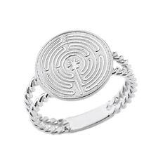 Chartres Prayer Split Shank Ring 925 Sterling Silver Meditation Labyrinth Heart