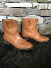J.Crew Tan Leather Ankle Boots Size 8.5 pull tab EUC