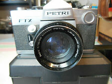 VINTAGE PETRI FTX CAMERA WITH PETRI LENS 1:8/55 WITH CASE AND LENS COVER