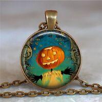 Jack-O-Lantern Necklace, Jack-O-Lantern Pendant, Halloween Necklace