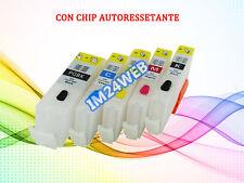 KIT 5 CARTUCCE RICARICABILI PER CANON PGI-570XL CLI-571XL CON CHIP AUTORESET