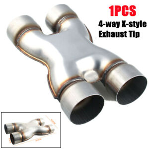 Car Stainless Steel Four-way Tubing Exhaust X-Pipe Adapter Connector Exhaust Tip