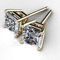 1.00 Ct Princess Cut Bridal Diamond Earring 14K Solid Yellow Gold Stud Earrings