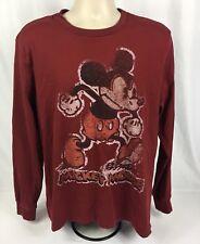 Disneystore Men's 100% Cotton Long Sleeve Mickey Graphic Shirt Red Size Medium