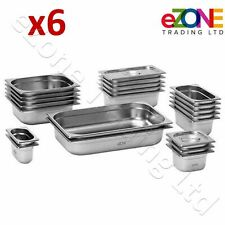More details for 6x gastronorm pan stainless steel gastro container tray bain marie food pot lid