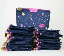 NEW! Lot of 50 X Estee Lauder Blue Color Star Print Makeup Cosmetic Bags