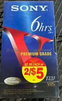 NEW! 1 Sony Premium Grade T-120 VHS - 6 Hours Sealed!