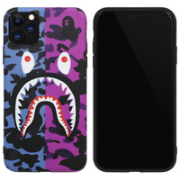 BAPE Blue Purple Camo Shark Cover Case For iPhone 11 Pro Max XS XR 8 7 Plus SE