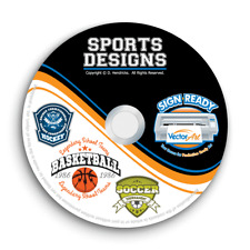 SPORTS DESIGNS CLIPART -VECTOR CLIP ART IMAGES + T-SHIRT GRAPTICS & TEMPLATES CD