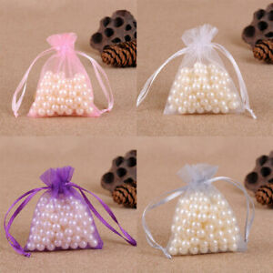 1~100x Large Organza Gift Bag Voile Net Bags Drawstring Wedding Favours Pouches