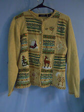 WOMENS UGLY CHRISTMAS SWEATER CARDIGAN WINTER DEER SNOW MEDIUM