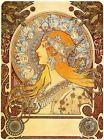 FRAMED CANVAS Art print giclee alphonse mucha zodiac Nouveau