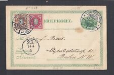 SWEDEN 1901 UPRATED POSTAL STATIONERY CARD GOTEBORG TO BERLIN GERMANY