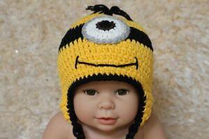 New Handmade Knit Crochet Baby Child Kids Minions Hat Cap Baby Shower Hat Beanie