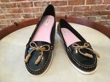 Isaac Mizrahi Decker Black Patent Boat Deck Shoes Flats New