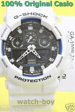 GA-100B-7A White Casio Unisex Watches G-Shock Analog Digital 200M-WR Resin Band