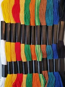 12 X QUALITY EMBROIDERY THREAD/FLOSS, MIXTURE OF DARK & LIGHT COLOURS.