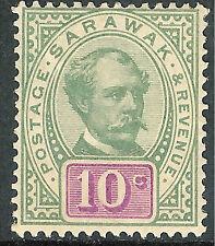 Sarawak 1888 green/purple 10c mint SG15