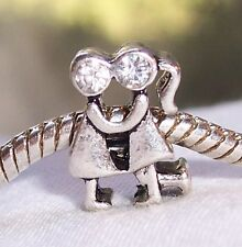 Couple Clear Rhinestone Anniversary Man Woman Bead for European Charm Bracelets